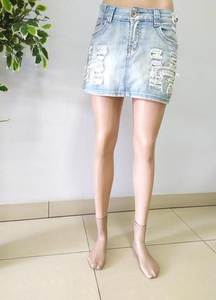Рваная літня юбка джинсова мини р.s