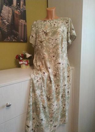 Платье фисташкового цвета marks spenser на 54 размер