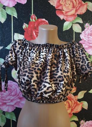 Леопардовый кроп топ блузка топ р 42
