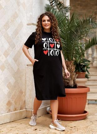 Трикотажное платье футболка, 50, 52, 54, 56