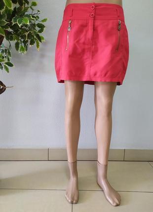 Літня червона юбка  мини р.м/s