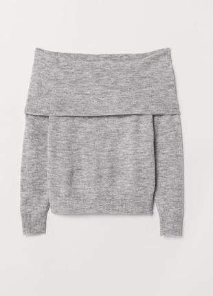 Мягкий свитер со спущенными плечами h&m 12% wool 5% alpaca