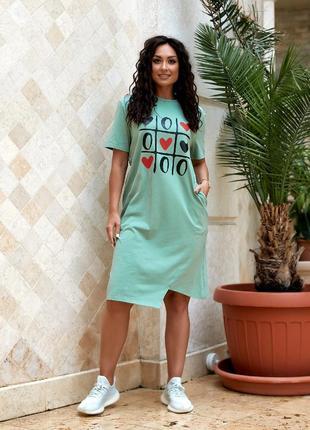 Платье футболка трикотажное, 50-56