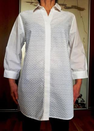 Белоснежная удлиненная хлопковая рубашка из шитья