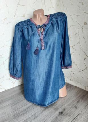 Блуза сорочка рубашка тонкий джинс(лиоцел)