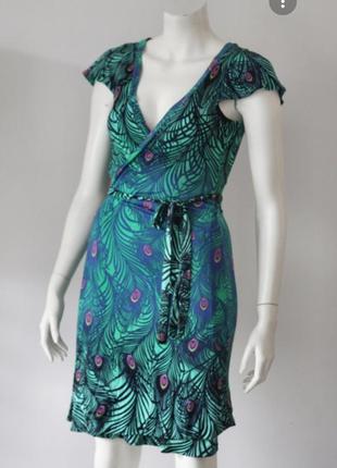 H&m платье на запах принт павлина хвост zara next asos f&f manro