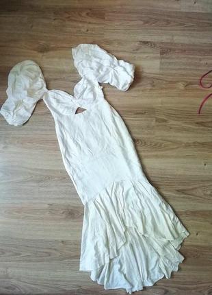 Белое молочное платье миди льняное біла молочна сукня плаття міді лляна из льна вечернее вечірня