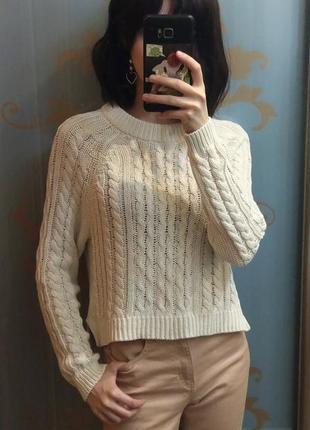 Легкий хлопковый свитер реглан свободной вязки косами молочный
