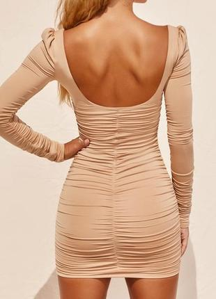 Вечернее коктельное платье мини длинный рукав по фигуре кофейное нюд oh polly3 фото