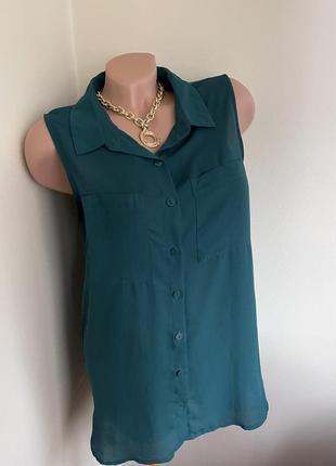 Изумрудная блуза рубашка базовая блузка