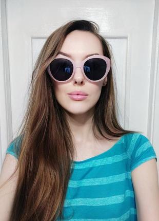 Классные розовые солнцезащитные очки кошечки тренд ретро окуляри сонцезахисні рожеві