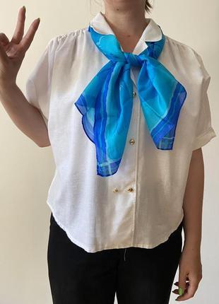 Белая свободная блуза в стиле японськой школьной форми блуза сейлор мун