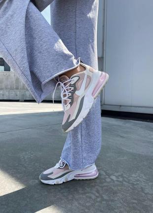 React 270 pink grey кроссовки розовые найк