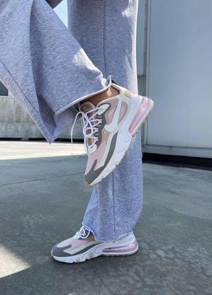 React 270 pink grey кроссовки розовые найк7 фото
