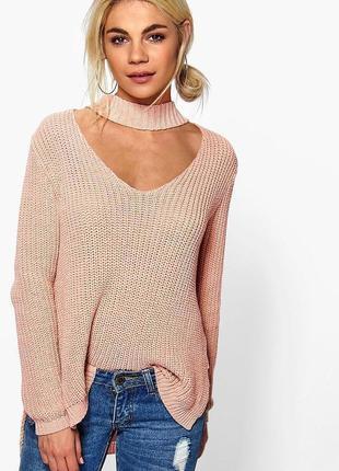 Оверсайз свитер крупной вязки с чокером atmosphere