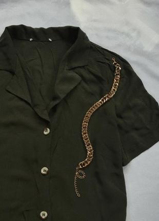 Легкая блуза рубашка в цвете хаки