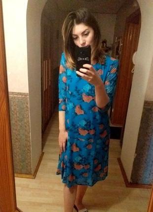 Новое платье na-kd / синее с цветочным принтом