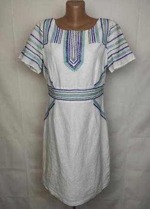 Платье вышиванка натуральное лён вышивка бисер marks&spencer uk 14/42/l