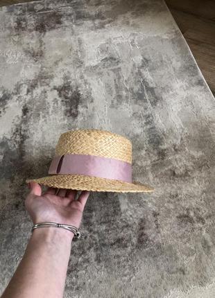 Соломенная шляпа канотье капелюх в стиле zara4 фото