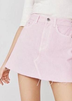 Джинсовая юбка розовая мини