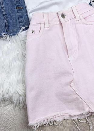 Трендовая джинсовая юбка розовая мини