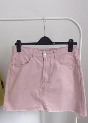 Джинсовая трендовая юбка мини трапеция