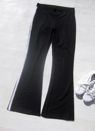 Брюки штаны спортивный gina tricot чёрные с белой полоской по бокам