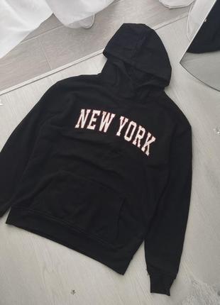 Трендовый базовый оверсайз чёрный свитшот худи кофта с надписью принт капюшон