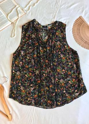 Нарядный летний топ-блузка в цветочный принт из вискозы f&f (размер 44-48)