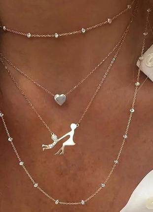 Цепочка ожерелье чокер украшение на шею для мамы и ребенка