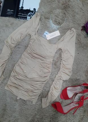 Вечернее коктельное платье мини длинный рукав по фигуре кофейное нюд oh polly4 фото
