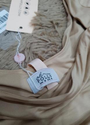 Вечернее коктельное платье мини длинный рукав по фигуре кофейное нюд oh polly7 фото