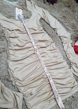 Вечернее коктельное платье мини длинный рукав по фигуре кофейное нюд oh polly9 фото