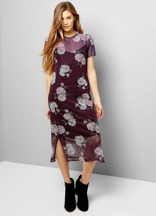 Красивое двойное сетчатое платье с цветочным принтом