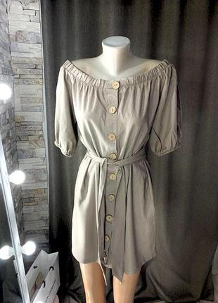 Льняное платье однотонное с открытыми плечами