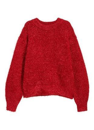 Новогодний красный блестящий оверсайз свитер с люрексом h&m