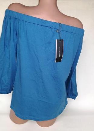 Новая с биркой натуральная легкая футболка со спцщенными плечами tommy hilfiger оригинал (к003)4 фото