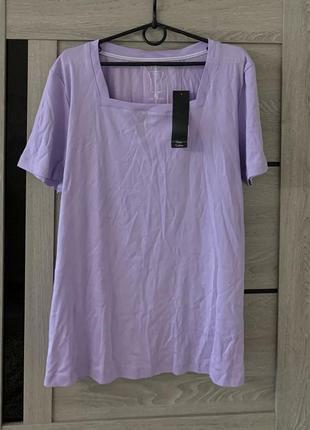 Лиловая футболка большого размера батал
