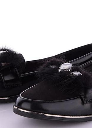 Женские детские подростковые шикарные туфли лакированные черные с декором