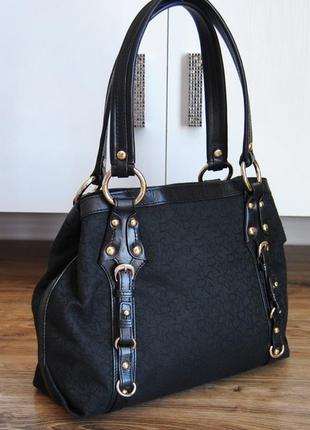 Кожаная тканевая сумка dkny / комбінована сумка donna karan