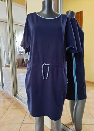 Стильное с карманами и лампасами платье 👗большого размера