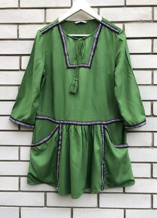 Штапельная блузка,туника,рубаха с вышивкой-тесьма,этно,бохо стиль,вискоза, tu