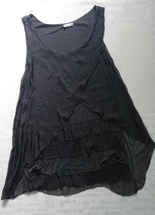Легкое платье -туника из трикотажа, шелковый верх #100%шелк, вискоза#