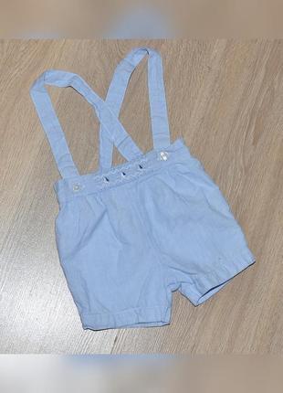 Шорты next 3-6 мес. нарядные летние шортики с подтяжками шорти красивые модные стильные на подтяжках