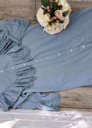 Хлопковое платье- рубашка с нежным французским кружевом