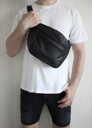 Oversize бананка кожа сумка на плече натуральная кожаная черная гигант