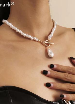 Ожерелье колье чокер с жемчугом с подвеской