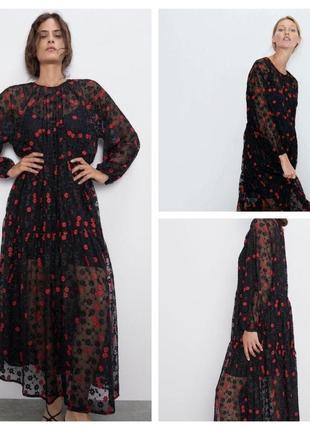 Чёрное шифоновое прозрачное платье с вышивкой zara.