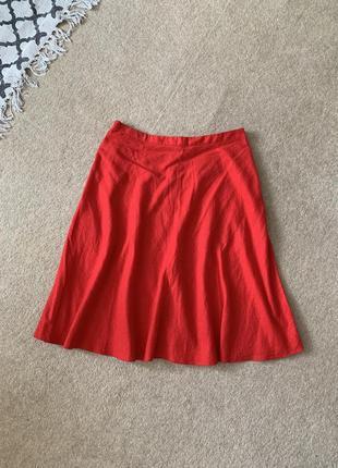 Шикарная льняная юбка миди алого цвета ❤️