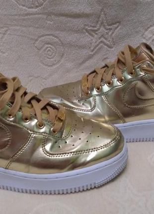 Оригинальные кроссовки nike air force 1 sp liquid metal gold